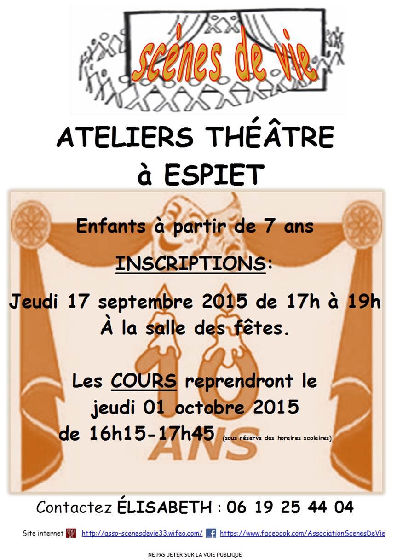 Dates et inscriptions pour les ateliers th tre 2015 2016 - Date des saisons 2016 ...